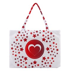 Monogram Heart Pattern Love Red Medium Tote Bag
