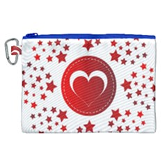 Monogram Heart Pattern Love Red Canvas Cosmetic Bag (xl)
