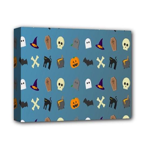 Halloween Cats Pumpkin Pattern Bat Deluxe Canvas 14  X 11