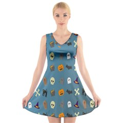 Halloween Cats Pumpkin Pattern Bat V Neck Sleeveless Skater Dress