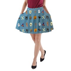 Halloween Cats Pumpkin Pattern Bat A Line Pocket Skirt