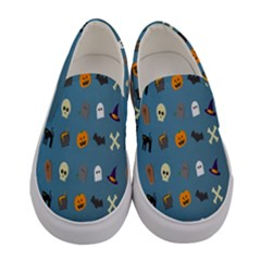 Halloween Cats Pumpkin Pattern Bat Women s Canvas Slip Ons