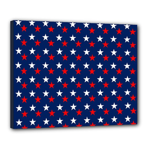 Patriotic Red White Blue Stars Blue Background Canvas 20  X 16