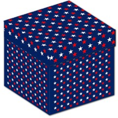 Patriotic Red White Blue Stars Blue Background Storage Stool 12