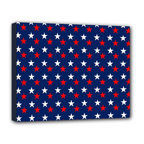 Patriotic Red White Blue Stars Blue Background Deluxe Canvas 20  X 16