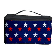 Patriotic Red White Blue Stars Blue Background Cosmetic Storage Case