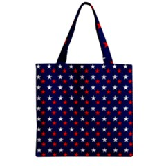 Patriotic Red White Blue Stars Blue Background Zipper Grocery Tote Bag