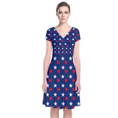 Patriotic Red White Blue Stars Blue Background Short Sleeve Front Wrap Dress
