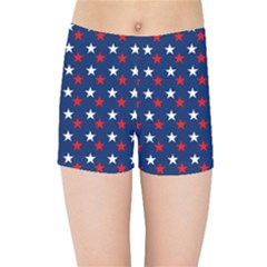 Patriotic Red White Blue Stars Blue Background Kids Sports Shorts