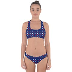 Patriotic Red White Blue Stars Blue Background Cross Back Hipster Bikini Set
