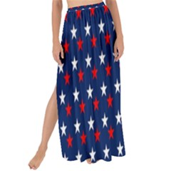 Patriotic Red White Blue Stars Blue Background Maxi Chiffon Tie Up Sarong
