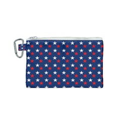 Patriotic Red White Blue Stars Blue Background Canvas Cosmetic Bag (small)