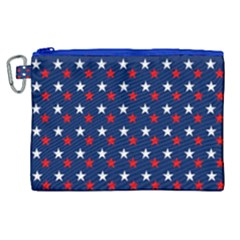 Patriotic Red White Blue Stars Blue Background Canvas Cosmetic Bag (xl)