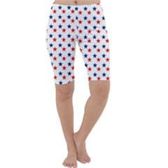 Patriotic Red White Blue Stars Usa Cropped Leggings