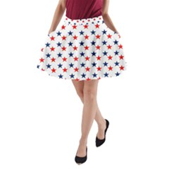 Patriotic Red White Blue Stars Usa A Line Pocket Skirt