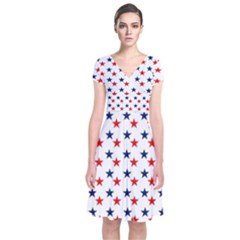 Patriotic Red White Blue Stars Usa Short Sleeve Front Wrap Dress