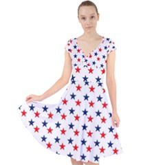 Patriotic Red White Blue Stars Usa Cap Sleeve Front Wrap Midi Dress