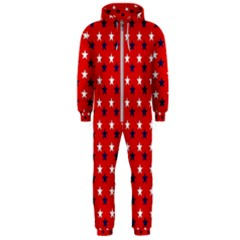 Patriotic Red White Blue Usa Hooded Jumpsuit (men)