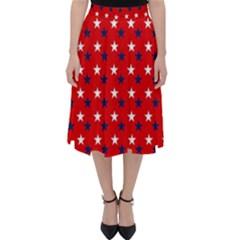 Patriotic Red White Blue Usa Folding Skater Skirt