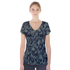 Camouflage Tarn Military Texture Short Sleeve Front Detail Top