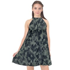 Camouflage Tarn Military Texture Halter Neckline Chiffon Dress