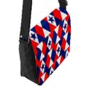 Patriotic Red White Blue 3d Stars Flap Messenger Bag (S) View2