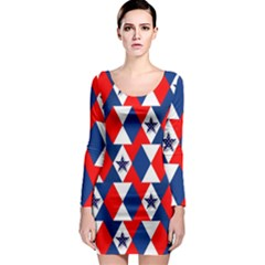 Patriotic Red White Blue 3d Stars Long Sleeve Bodycon Dress