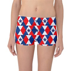 Patriotic Red White Blue 3d Stars Reversible Boyleg Bikini Bottoms
