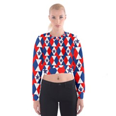 Patriotic Red White Blue 3d Stars Cropped Sweatshirt