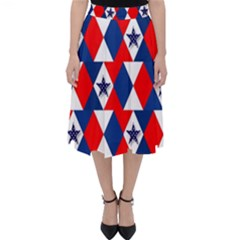 Patriotic Red White Blue 3d Stars Folding Skater Skirt