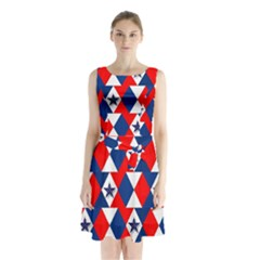 Patriotic Red White Blue 3d Stars Sleeveless Waist Tie Chiffon Dress
