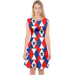 Patriotic Red White Blue 3d Stars Capsleeve Midi Dress