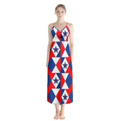 Patriotic Red White Blue 3d Stars Button Up Chiffon Maxi Dress