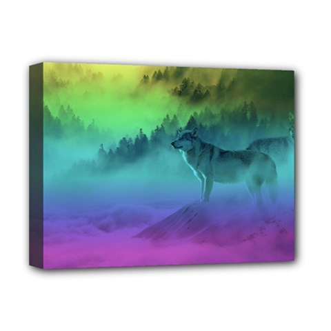 Yellowstone Wolfs Sunset Deluxe Canvas 16  X 12
