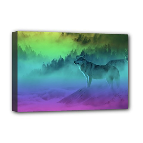 Yellowstone Wolfs Sunset Deluxe Canvas 18  X 12
