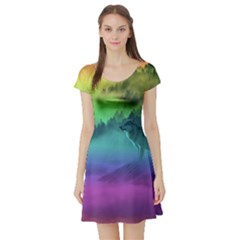Yellowstone Wolfs Sunset Short Sleeve Skater Dress