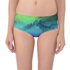 Yellowstone Wolfs Sunset Mid Waist Bikini Bottoms