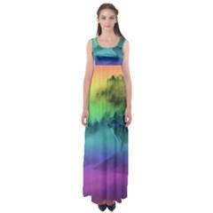 Yellowstone Wolfs Sunset Empire Waist Maxi Dress