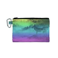 Yellowstone Wolfs Sunset Canvas Cosmetic Bag (small)
