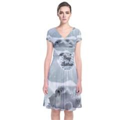 Cute Polar Bear Baby, Merry Christmas Short Sleeve Front Wrap Dress