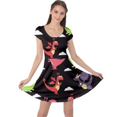 Cute Flying Dragons Cap Sleeve Dress