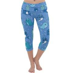 Cute Narwhal Pattern Capri Yoga Leggings