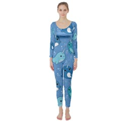 Cute Narwhal Pattern Long Sleeve Catsuit