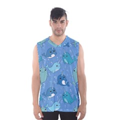 Cute Narwhal Pattern Men s Basketball Tank Top