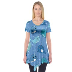 Cute Narwhal Pattern Short Sleeve Tunic