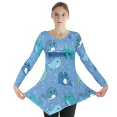 Cute Narwhal Pattern Long Sleeve Tunic