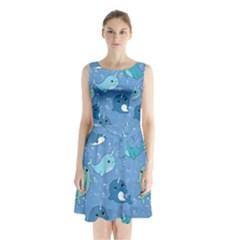 Cute Narwhal Pattern Sleeveless Waist Tie Chiffon Dress