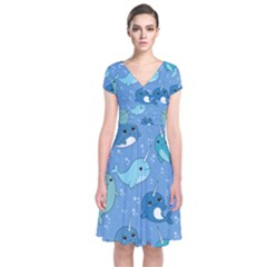 Cute Narwhal Pattern Short Sleeve Front Wrap Dress