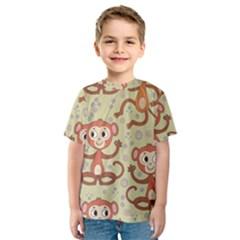 Cute Cartoon Monkeys Pattern Kids  Sport Mesh Tee