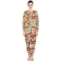 Cute Cartoon Monkeys Pattern Onepiece Jumpsuit (ladies)